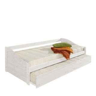 Stauraumbett in Weiß lasiert Kiefer massiv Ausziehbett