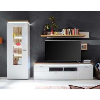 TV Wohnwand in Weiß und Wildeiche Optik LED Beleuchtung (3-teilig)