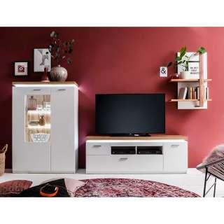 Design Wohnwand in Weiß und Wildeiche Optik LED Beleuchtung (3-teilig)