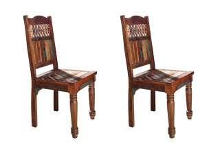 Stuhl 2er Set Indisches Altholz lackiert FABLE #05