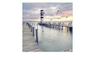 Glasbild 30x30 cm  White & Red Lighthouse ¦ blau ¦ Maße (cm): B: 30 H: 30 Dekoration > Bilder & Schilder - Höffner
