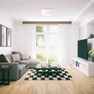 Wohnzimmer Tisch mit Massivholzplatte in Eiche Bianco Edelstahlgestell