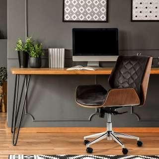 Retro Schreibtischsessel in Braun Kunstleder Schichtholz in Walnussfarben