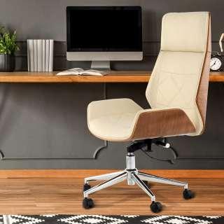 Retro Schreibtischdrehstuhl in Creme Weiß Kunstleder Schichtholz in Walnussfarben