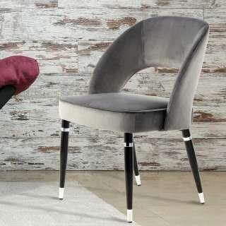 Esstisch Stühle in Grau Samt Metallgestell in Schwarz Silber (2er Set)