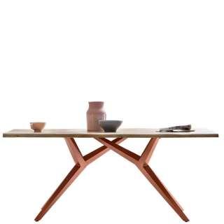 Design Esstisch aus Akazie Massivholz Eisen 4-Fußgestell in Braun
