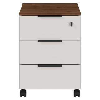 Schreibtischrollcontainer in Creme Weiß und Nussbaum Optik drei Schubladen