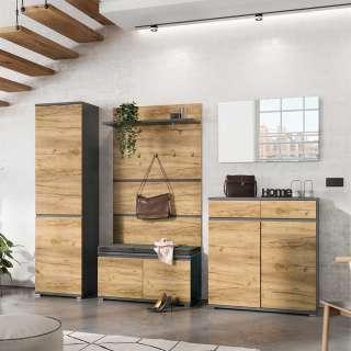 Möbel Set in Wildeichefarben und Anthrazit Diele und Garderobe (5-teilig)