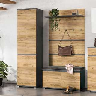 Garderoben Set in Wildeichefarben und Anthrazit 150 cm breit (3-teilig)