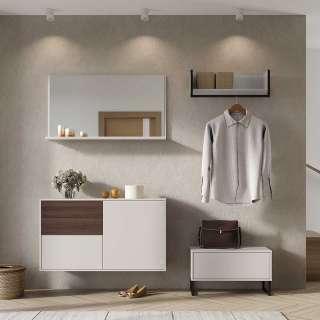 Dielenmöbel Set in Creme und Nussbaumfarben modern (4-teilig)