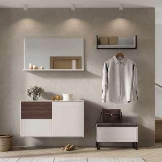 Garderoben Set in Creme und Nussbaumfarben Made in Germany (4-teilig)