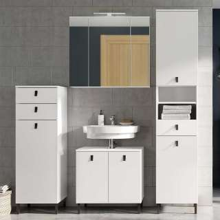 Waschplatz Set in Weiß 190 cm hoch (4-teilig)