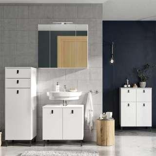 Badezimmer Kombination in Weiß LED Beleuchtung (4-teilig)