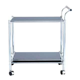 Serviertisch mit Schwarzglasplatte Tablettfunktion
