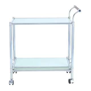 Küchenwagen mit Weißglasplatte und Eisengestell Tablettfunktion