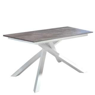 Ausziehbarer Tisch in Dunkelgrau und Weiß Mikado Fußgestell
