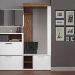 Kompakte Garderobe in Weiß und Walnussfarben modern