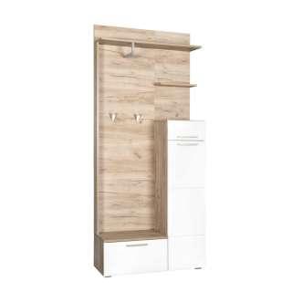 Garderoben Set in Sonoma Eiche und Weiß 90 cm breit