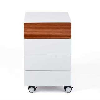 Schreibtischcontainer in Weiß Eiche Massivholz
