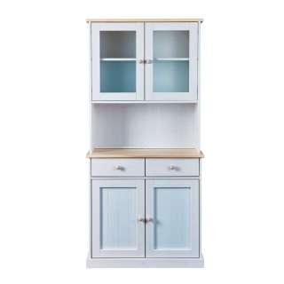 Küchenbuffetschrank in Weiß und Kiefer Bianco Landhausstil