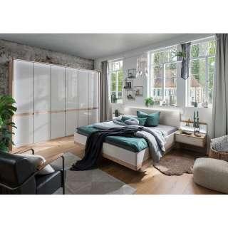 Schlafzimmerset in Beige und Eiche Bianco LED Beleuchtung (4-teilig)