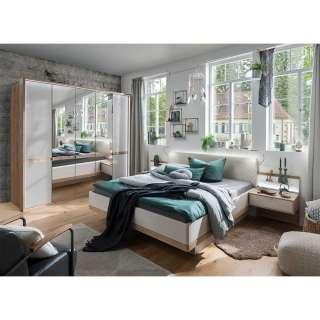 Design Schlafzimmer Set in Eiche Bianco und Beige modern (4-teilig)