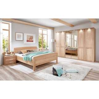 Komplett Schlafzimmer aus Eiche teilmassiv LED Beleuchtung (4-teilig)