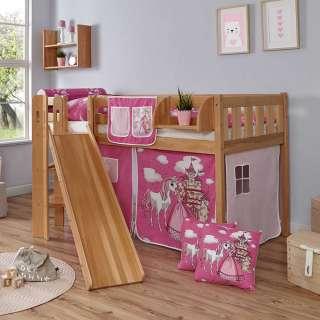 Kinder Halbhochbett aus Buche Massivholz Rutsche und Vorhang