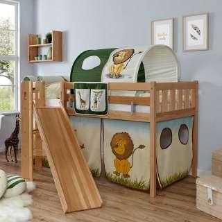 Kinderspielbett mit Rutsche und Tunnel Buche Massivholz