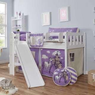 Kinder Halbhochbett mit Rutsche und Vorhang Prinzessin Design