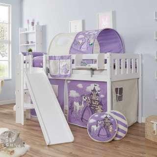 Kinderhochbett im Prinzessin Design Rutsche