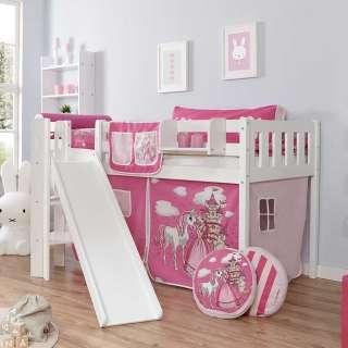 Kinder Halbhochbett mit Vorhang und Rutsche Prinzessin Design