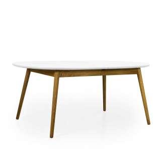 Ausziehbarer Tisch in Weiß und Eiche oval