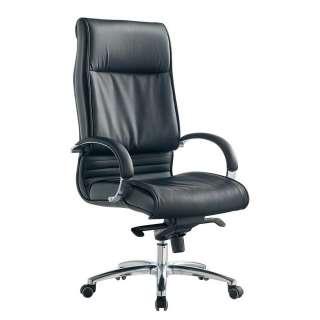 Bürostuhl in Schwarz Kunstleder verstellbarer Rückenlehne