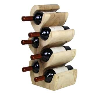 Flaschenregal aus Suar Massivholz Landhausstil