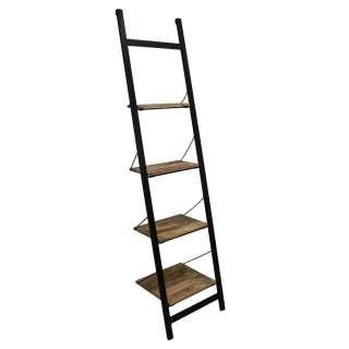 Leiter Standregal aus Mangobaum Massivholz und Eisen 220 cm hoch
