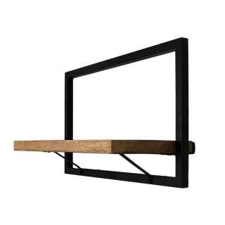 Wandregal aus Mangobaum Massivholz und Eisen Loft Design