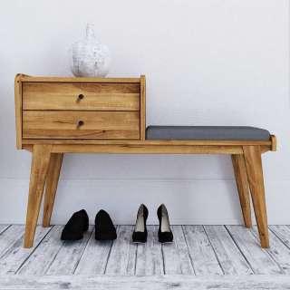 Garderoben Sitzbank aus Wildeiche Massivholz zwei Schubladen