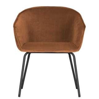 Armlehnenstühle in Terracotta Samt Retro Design (2er Set)