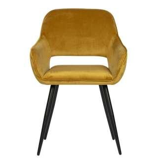 Samt Armlehnenstühle in Gelb modern (2er Set)