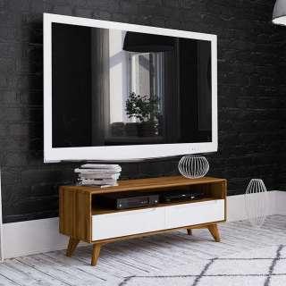 TV Unterschrank in Weiß und Wildeiche zwei Schubladen