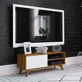 Fernsehertisch in Weiß und Wildeiche 120 cm breit