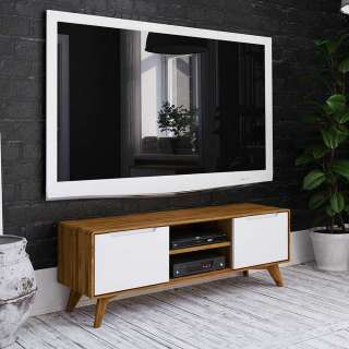 Fernsehboard in Weiß und Wildeiche Türen