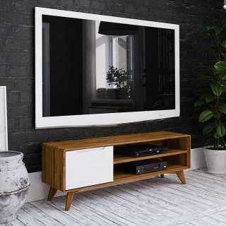 Fernsehtisch in Weiß und Wildeiche modern