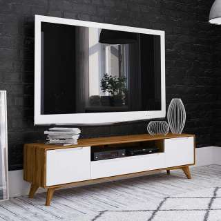 TV Board in Weiß und Wildeiche 180 cm breit