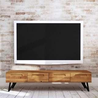TV Lowboard aus Wildeiche Massivholz und Stahl vier Schubladen