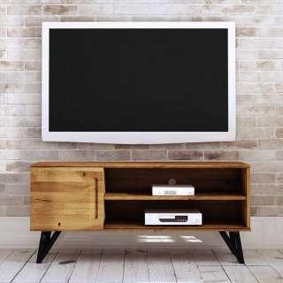 TV Schrank aus Wildeiche Massivholz und Stahl 45 cm tief