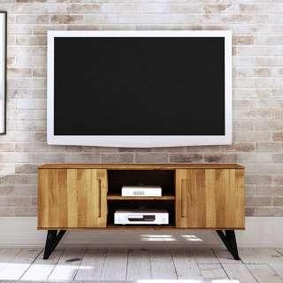 Fernseher Schrank aus Wildeiche Massivholz und Stahl Türen