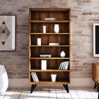 Wohnzimmer Regal aus Wildeiche Massivholz und Stahl 185 cm hoch