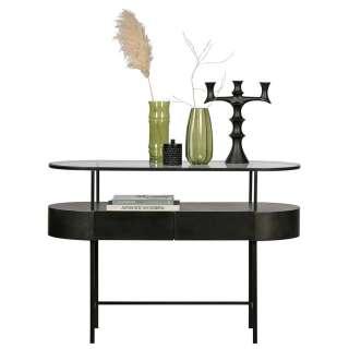 Design Konsolentisch aus Sicherheitsglas und Stahl 120 cm breit